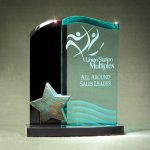 Patina Star Double Wave Jade and Black Lucite on Base Achievement Awards