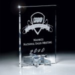 Optic Crystal Rectangle with Star Base Achievement Awards